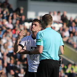 Stephen McGinn isnt happy about the refs decision  during the St Mirren v Dumbarton Scottish Championship 08 April 2017<br /> <br /> <br /> <br /> <br /> <br /> (c) Andy Scott | SportPix.org.uk