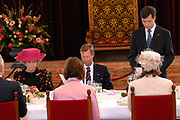 State visit of Luxembourg to the Netherlands /<br /> Staatsbezoek van Luxemburg aan Nederland<br /> <br /> Government lunch in the Ridedertzaal in The Hague with speech of the minister-president and the Grand Duke.<br /> <br /> Regeringslunch in de Ridedertzaal in Den haag met toespraak van de Minister-president en de Groothertog.<br /> <br /> On the photo / Op de foto;<br /> <br />  Queen Beatrix, The Grand Duke , and Premier Balkenende