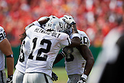 KANSAS CITY, MO - SEPTEMBER 20:   Darren McFadden #20 celebrates with Darrius Heyward-Bey #12 of the Oakland Raiders after scoring the winning touchdown against the Kansas City Chiefs at Arrowhead Stadium on September 20, 2009 in Kansas City, Missouri.  The Raiders defeated the Chiefs 13-10.  (Photo by Wesley Hitt/Getty Images) *** Local Caption *** Darren McFadden; Darrius Heyward-Bey