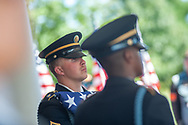 An honor guard stands by during burial services with full military honors, held for 12 veterans left unattended by family or friends Thursday, August 29, 2019 at Washington Crossing National Cemetery in Washington Crossing, Pennsylvania. Once a month, burials are held for veterans who have no family and their remains have never been claimed. Some vets remains have waited 12 years for burial. (Photo by William Thomas Cain / CAIN IMAGES)