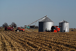 29 October 2006:  Farm implements sit ready at a small grain storage area on a small farm. Rural McLean County, Illinois.<br />