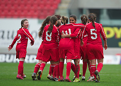 LLANELLI, WALES - Thursday, March 31, 2011: Turkey's Leyla Gu?ngo?r celebrates scoring the second goal against Iceland, the second of her hat-trick, during the UEFA European Women's Under-19 Championship Second Qualifying Round (Group 3) match at Parc Y Scarlets. (Photo by David Rawcliffe/Propaganda)