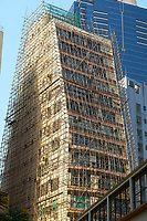 New building covered with bamboo scaffolding Hong Kong Hong Kong August 2008