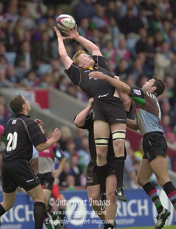Photo Peter Spurrier.5/10/2002.Zurich Premiership Rugby - Harlequins v Newcastle.Hugh Vyvyan, collects the line out ball...