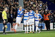 Queens Park Rangers forward Jamie Mackie celebrates his goal with team mates during the Sky Bet Championship match between Queens Park Rangers and Middlesbrough at the Loftus Road Stadium, London, England on 1 April 2016. Photo by Andy Walter.