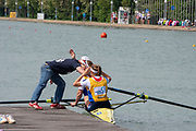 Plovdiv, Bulgaria, {DATE, }FISA, Rowing World Cup 1, W2-, NED, Coach congratulates (s) Jose VAN VEEN and (b) Aletta JORRITSMA, after they had won Gold in W2- Final, ,[© Karon PHILLIPS/ Intersport Images]