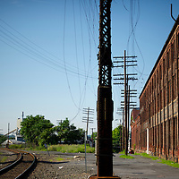 Traintracks run beside the Reading Foundry in Reading, PA on July 16, 2013.