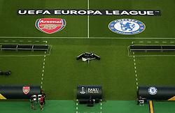 A general view of the Arsenal and Chelsea logo ahead of the match during the UEFA Europa League final at The Olympic Stadium, Baku, Azerbaijan.