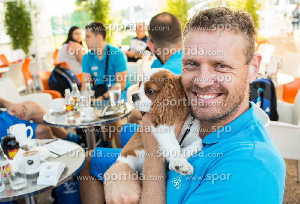 Miha Zupan (with his dog) of Slovenian deaf team before departure to 23rd Summer Deaflympics in Samsun, Turkey, on July 14, 2017 at Airport Joze Pucnik, Brnik, Slovenia. Photo by Vid Ponikvar / Sportida
