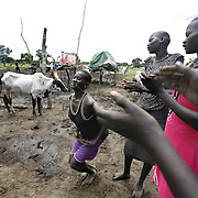 Dinka women do traditional dances at their homestead. Cows are Dinkaland's diamonds. They are exchanged upon marriage and handed out as prized gifts. They stand for beauty, status and wealth, and the Dinka are so devoted to them, that they would rather live off milk (with a little sorghum here and there) than steak.