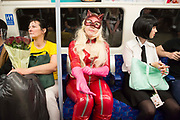 UNITED KINGDOM, London: 26 May 2019 <br /> Cosplayer Katie Margaret, dressed as a character from video game Persona 5, makes her way to London ExCeL for the final day of the MCM London Comic Con. The three day comic convention is being held at London ExCeL from Fri 24th - Sun 26th of May.