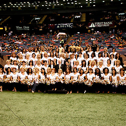 2008 October, 12: Saintsations Alumni dancers pose for a group photo prior to kickoff of a week six regular season game between the Oakland Raiders and the New Orleans Saints at the Louisiana Superdome in New Orleans, LA.