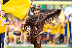 Oct 1, 2016; Morgantown, WV, USA; The West Virginia Mountaineers Mountaineer leads the West Virginia Mountaineers onto the field prior to their game against the Kansas State Wildcats at Milan Puskar Stadium. Mandatory Credit: Ben Queen-USA TODAY Sports