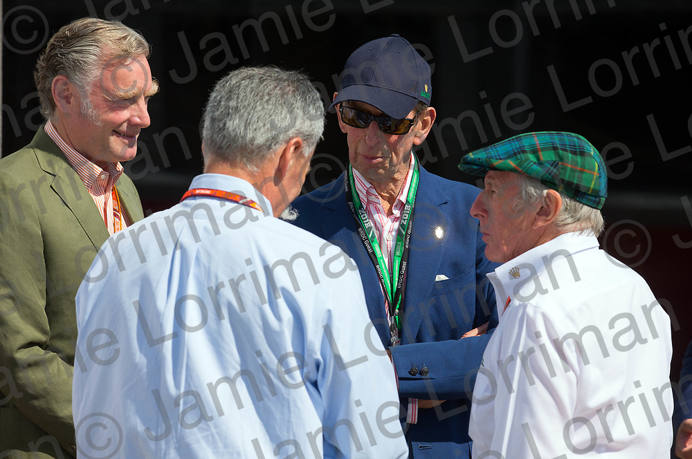 The 2018 Formula 1 F1 Rolex British grand prix, Silverstone, England. Friday 6th July 2018.<br /> <br /> Pictured: Prince Edward, Duke of Kent speaks with Sean Bratches (Managing Director, Commercial Operations of the Formula One Group) Chase Carey (CEO and executive chairman of the Formula One Group) and Sir Jackie Stewart OBE at the British F1 Grand Prix, Silverstone.<br /> <br /> Jamie Lorriman<br /> mail@jamielorriman.co.uk<br /> www.jamielorriman.co.uk<br /> 07718 900288