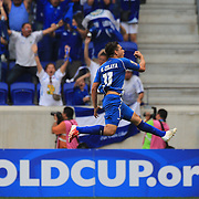 Rodolfo Zelaya, El Salvador, celebrates after scoring the first of his two goals from a free kick during the El Salvador Vs Trinidad and Tobago CONCACAF Gold Cup group B football match at Red Bull Arena, Harrison, New Jersey. USA. 8th July 2013. Photo Tim Clayton