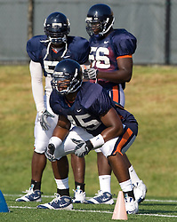 Virginia linebacker Denzel Burrell (45).  The Virginia Cavaliers football team during an open practice on August 16, 2008 at the University of Virginia's football turf field in Charlottesville, VA.