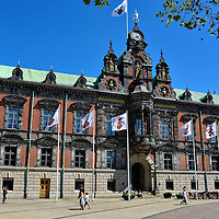 Rådhuset or Town Hall in Malmö, Sweden<br /> In the northeast corner of the Stortorget square is Malmö's architectural gem: the Rådhuset. This magnificent building was constructed in 1546. It replaced an earlier town hall dating back to the mid-14th century. The current Dutch Renaissance façade of the radhus was added around 1860.