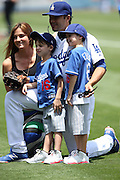 LOS ANGELES, CA - JUNE 15:  Andre Ethier #16 of the Los Angeles Dodgers poses for a photo with his wife and children during Father's Day pregame festivities before the game against the Arizona Diamondbacks at Dodger Stadium on Sunday, June 15, 2014 in Los Angeles, California. The Diamondbacks won the game 6-3. (Photo by Paul Spinelli/MLB Photos via Getty Images) *** Local Caption *** Andre Ethier