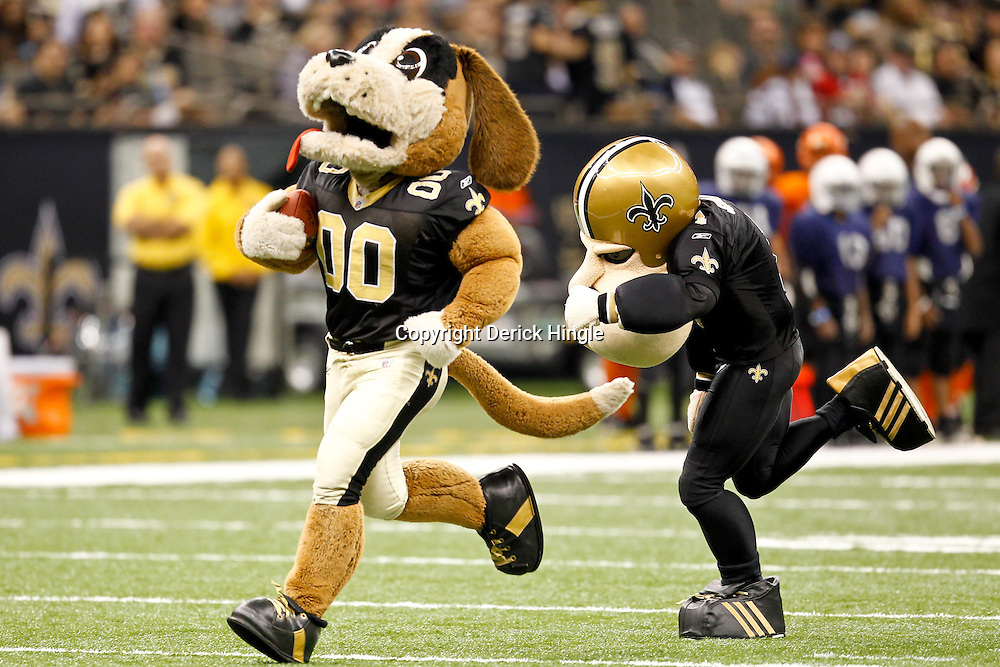 September 25, 2011; New Orleans, LA, USA; New Orleans Saints mascots Gumbo and Big Chin Charlie play during halftime of a game against the Houston Texans at the Louisiana Superdome. Mandatory Credit: Derick E. Hingle