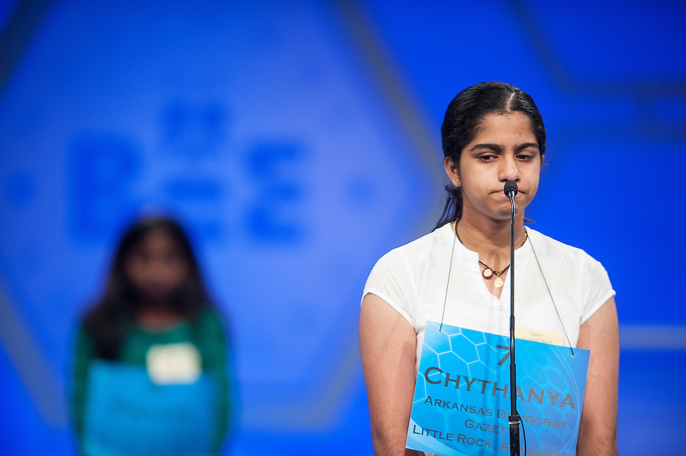Chythanya Murali, 13, of Little Rock, Arkansas, participates in round two of the preliminaries of the Scripps National Spelling Bee on May 28, 2014 at the Gaylord National Resort and Convention Center in National Harbor, Maryland.