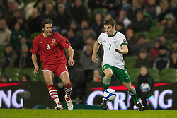DUBLIN, IRELAND - Tuesday, February 8, 2011: Wales' Sam Ricketts and the Republic of Ireland's Seamus Coleman during the opening Carling Nations Cup match at the Aviva Stadium (Lansdowne Road). (Photo by David Rawcliffe/Propaganda)
