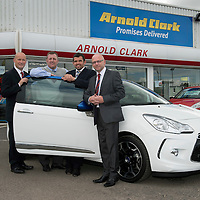 Arnold Calerk, Citroen, Perth present a car to be used by staff at St Johnstone....16.08.13<br /> Pictured from left, Derek Swan Sales Manager Arnold Clark Citroen, St Johnstone Associate Director Roddy Grant Callum Davidson St Johnstone Assistant Manager and Bobby Berwick General Manager Arnold Clark Citroen.<br /> Picture by Graeme Hart.<br /> Copyright Perthshire Picture Agency<br /> Tel: 01738 623350  Mobile: 07990 594431