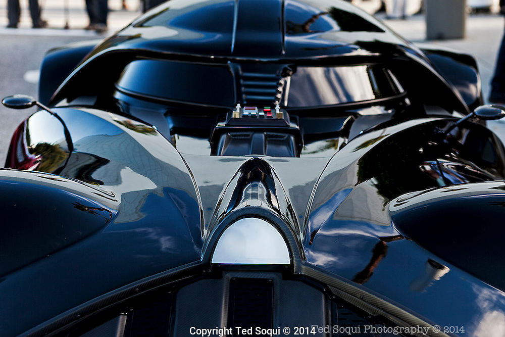 The 2014 Los Angeles Auto Show at the Los Angeles Convention Center.<br />  A custom car by Hot Wheels made to look like Darth Vader of Star Wars on display.