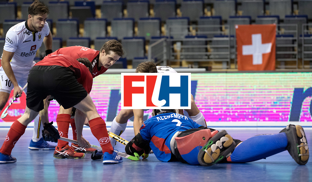 BERLIN - Indoor Hockey World Cup<br /> Men: Switzerland - Belgium<br /> foto: Tom Boon and ...<br /> WORLDSPORTPICS COPYRIGHT FRANK UIJLENBROEK