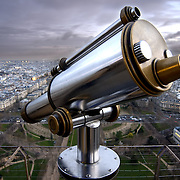 Paris (France). A telescope on the Eiffel Tower