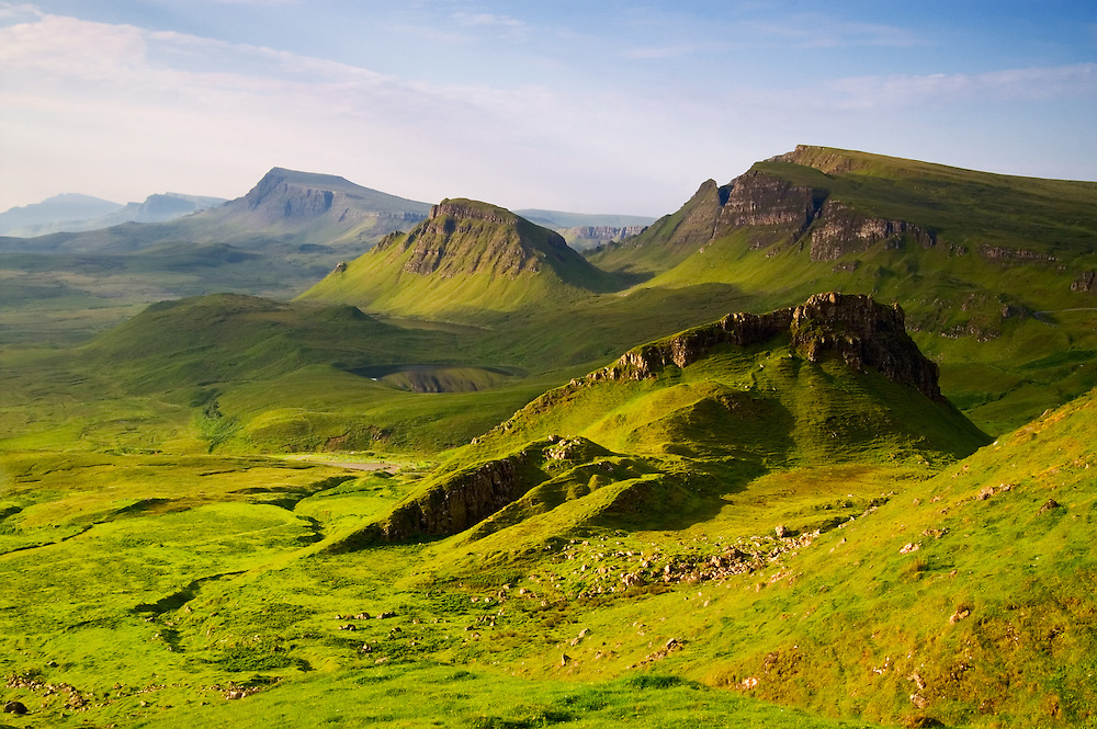 The spectacular inhospitable shapes of The Quiraing bathed in early summer glow.