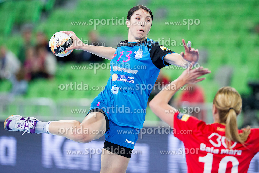 Mirjeta Bajramoska of RK Krim Mercator during handball match between RK Krim Mercator (SLO) and HCM Baia Mare (ROM) in 1st Round of Women's EHF Champions League 2015/16, on October 16, 2015 in Arena Stozice, Ljubljana, Slovenia. Photo by Urban Urbanc / Sportida