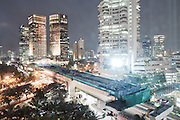 JAKARTA, INDONESIA, MAY 2013:<br /> View of Sudirman Street the center of Jakarta, May 2013. the traffic in Jakarta is so bad that the government is trying to buil many flyover all over the city, to avoid congestion during the rush hours<br /> &copy; Giulio Di Sturco for Bloomberg Markets