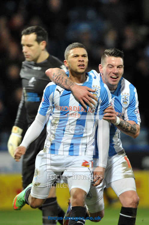 Picture by Graham Crowther/Focus Images Ltd +44 7763 140036<br /> 11/01/2014<br /> Nahki Wells of Huddersfield Town celebrates scoring on his debut against Millwall during the Sky Bet Championship match at the John Smiths Stadium, Huddersfield.