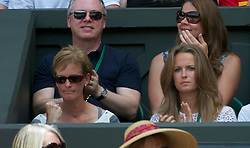 LONDON, ENGLAND - Monday, June 27, 2011: Like mother like son... Andy Murray's mother Judy fist pumps in celebration during the Gentlemen's Singles 4th Round match on day seven of the Wimbledon Lawn Tennis Championships at the All England Lawn Tennis and Croquet Club. (Pic by David Rawcliffe/Propaganda)