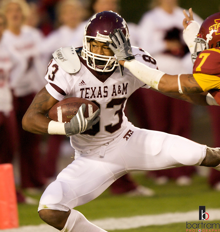Texas A&M wide receiver Terrence McCoy catches a touchdown pass against Iowa State on Saturday, Oct. 25, 2008.