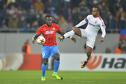 November 2, 2017 - Bucharest, Romania - FCSB's Harlem Gnohere vies Hapoel's Maharan Radi during the UEFA Europa League 2017-2018, Group Stage, Groupe G game between FCSB Bucharest (ROU) and Hapoel Beer-Sheva FC (ISR) at National Arena Stadium, Bucharest,  Romania, on 2 November 2017. (Credit Image: © Alex Nicodim/NurPhoto via ZUMA Press)