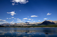 The calm waters of Lower Kananaskis Lake in Peter Lougheed Provincial Park, Alberta, Canada