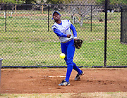 Hampton University Junior Pitcher Travonna Byrd warms up prior to pitching the first game of their doubleheader split against Morgan State at the Lady Pirates Softball Complex on the campus of Hampton University in Hampton, Virginia.  (Photo by Mark W. Sutton)