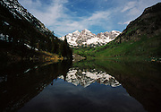 Spring Scenic of the Maroon Bells and the Lake near Aspen, Colorado.