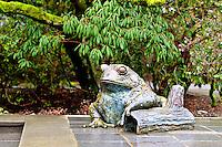 Bronze frog statue at Bellevue Botanical Gardens