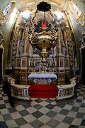 Italy, The Dolomites, Bolzano-Bozen, Brixen (also Bressanone) Interior of the Cathedral Fisheye view of the altar December 2008