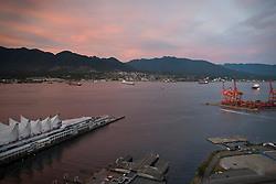 Aerial view of Canada Place and shipping terminals, Port of Vancouver, Vancouver, British Columbia, Canada