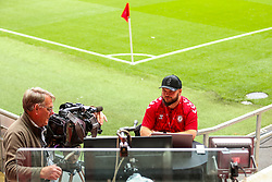 Ian Downs presents for Robins TV from the corner of the Lansdown and South stands - Rogan/JMP - 28/08/2020 - Ashton Gate Stadium - Bristol, England - Bristol City v Sheffield Wednesday - Sky Bet Championship.