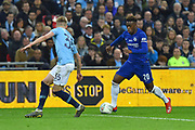 Callum Hudson-Odoi (20) of Chelsea on the attack during the Carabao Cup Final match between Chelsea and Manchester City at Wembley Stadium, London, England on 24 February 2019.