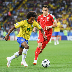 Willian of Brazil and Filip Kostic of Serbia during the FIFA World Cup Group E match between Serbia and Brazil on June 27, 2018 in Moscow, Russia. (Photo by Anthony Dibon/Icon Sport)