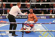 David Haye is counted in the fifth round out at the O2 Arena, London, United Kingdom on 5 May 2018. Picture by Phil Duncan.
