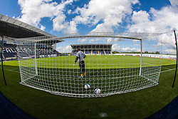 Falkirk FC keeper Michael McGovern at the goals during the warm-up. The Falkirk Stadium, with the new pitch work for the Scottish Championship game v Morton. The woven GreenFields MX synthetic turf and the surface has been specifically designed for football with 50mm tufts compared with the longer 65mm which has been used for mixed football and rugby uses.  It is fully FFA two star compliant and conforms to rules laid out by the SPL and SFL.<br />