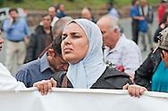 Roma 28 Maggio 2012.Manifestazione dei lavoratori dell'Acea  con i sindacati per protestare contro la decisione del Sindaco di Roma Gianni Alemanno di privatizzare l'acqua. Una manifestante con lo hijab.