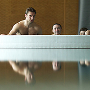 Vincent Clerc, France, (left) and team mate  Dimitri Yachvili, (right)  during a recovery session in a hotel swimming complex, Auckland, in preparation for the IRB Rugby World Cup Final. Auckland, New Zealand, 17th October 2011. Photo Tim Clayton...