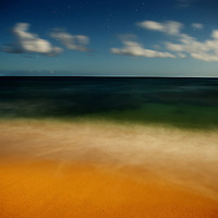 Moonlit beach near Hanalei, Kauai